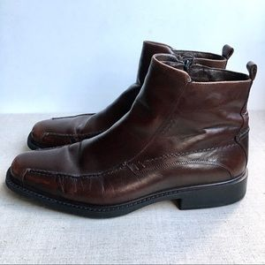 Ecco Men EU 42 Brown Leather Zip-Up Ankle Boots